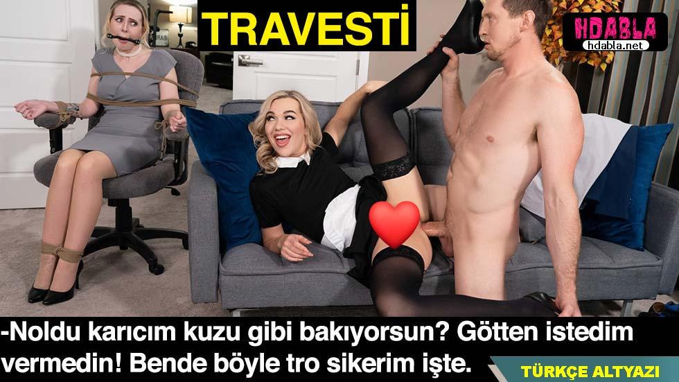 Travestinin götü daha tatlı gelince karısını bağladı troya kaydı