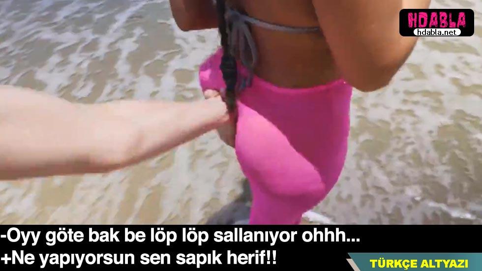Sapık herif sahilde yürüyüş yapan kadının götünü elledi